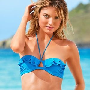 Victoria's Secret Blue Ruffle Bikini 34B Small